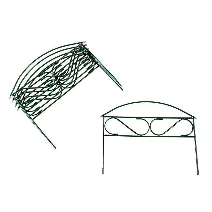 Ограждение декоративное, 37 × 325 см, 5 секций, металл, зелёное, «Узкий мини»