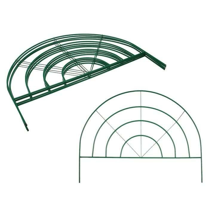 Ограждение декоративное, 70 × 500 см, 5 секций, металл, зелёное, «Радар»