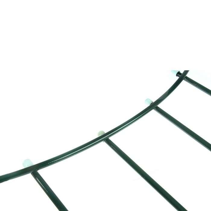 Ограждение декоративное, 74 × 425 см, 5 секций, металл, зелёное, «Горизонталь»