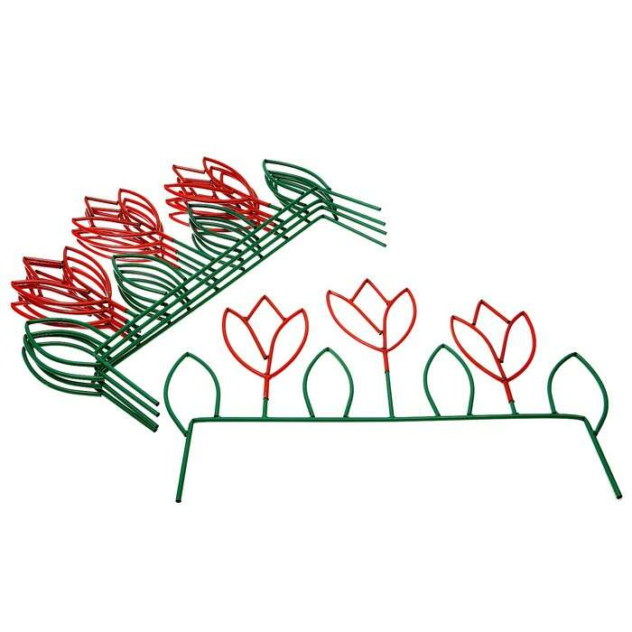 Ограждение декоративное, 66 × 445 см, 5 секций, металл, зелёное, «Весенний»