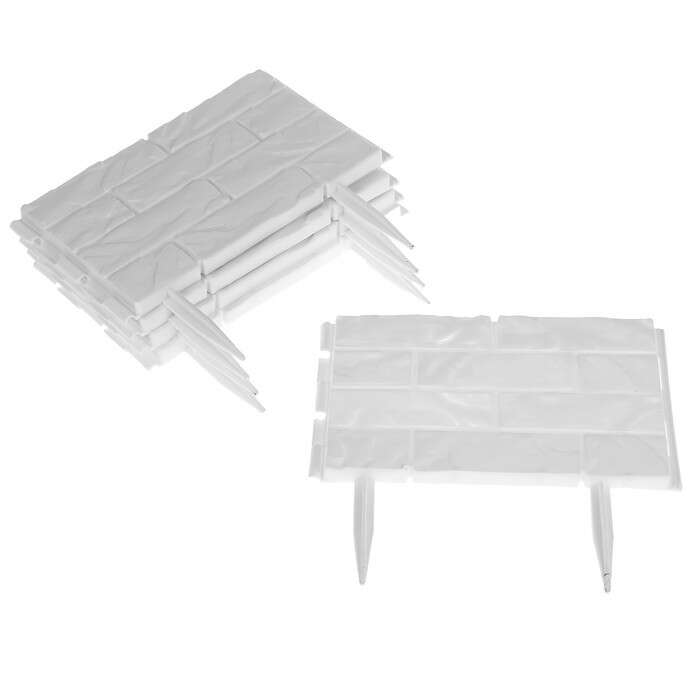 Ограждение декоративное, 25 × 325 см, 12 секций, пластик, белый, «Камень»