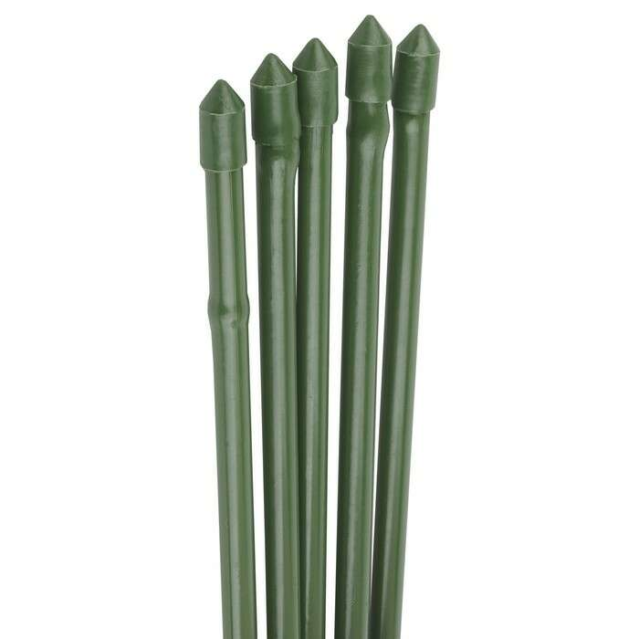 Колышек для подвязки растений, h = 75 см, d = 0,8 см, набор 5 шт., металл в пластике, «Бамбук»