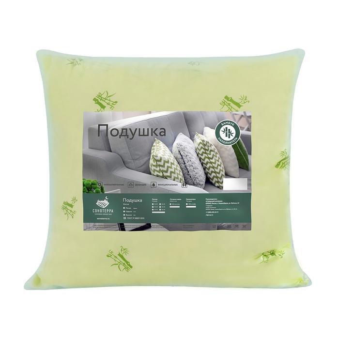 Подушка «Бамбук» ультрастеп 70х70 см, цвет зелёный, полиэфирное волокно, полиэстер 100%