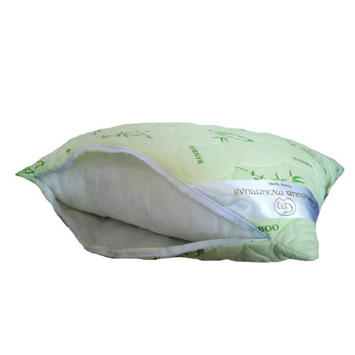 Подушка стёганая 2-х камерная «Бамбук», 70х70 см, чехол бамбук/полиэстер, наполнитель иск лебяжий пух