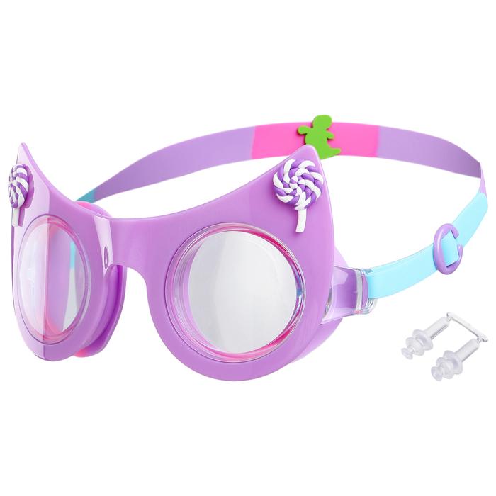 Очки для плавания, детские Кошечка, цвет фиолетовый