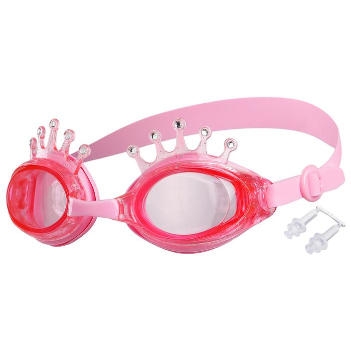 Очки для плавания, детские Корона, цвет розовый