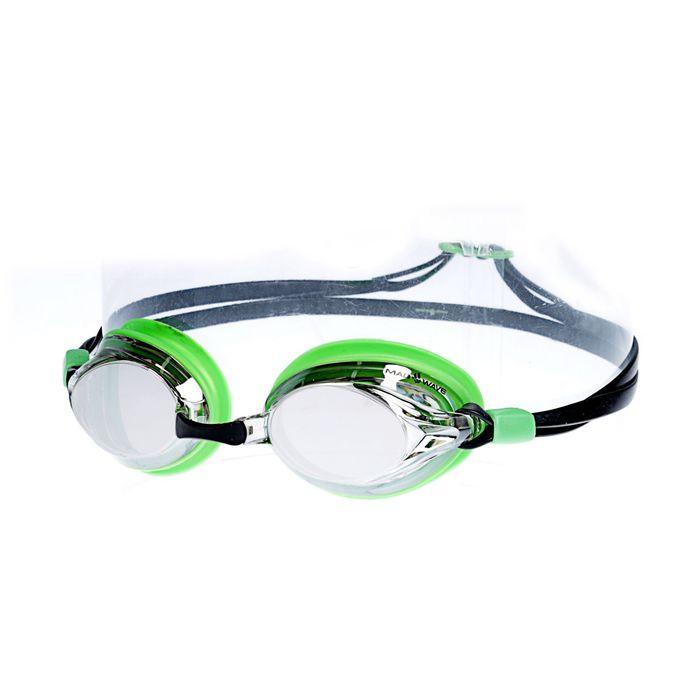 Очки для плавания SPURT Mirror, цвет зелёный/чёрный
