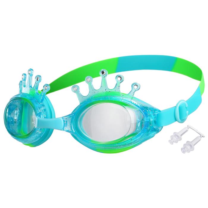 Очки для плавания, детские Корона, цвет салатово-голубой