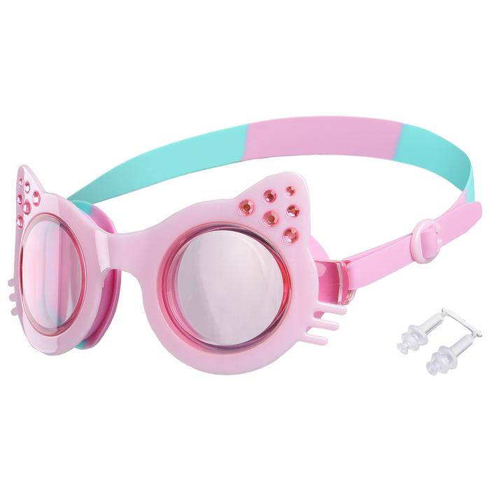 Очки для плавания, цвет розовый