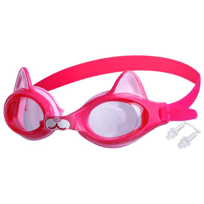 Очки для плавания, детские Котенок, цвет розовый