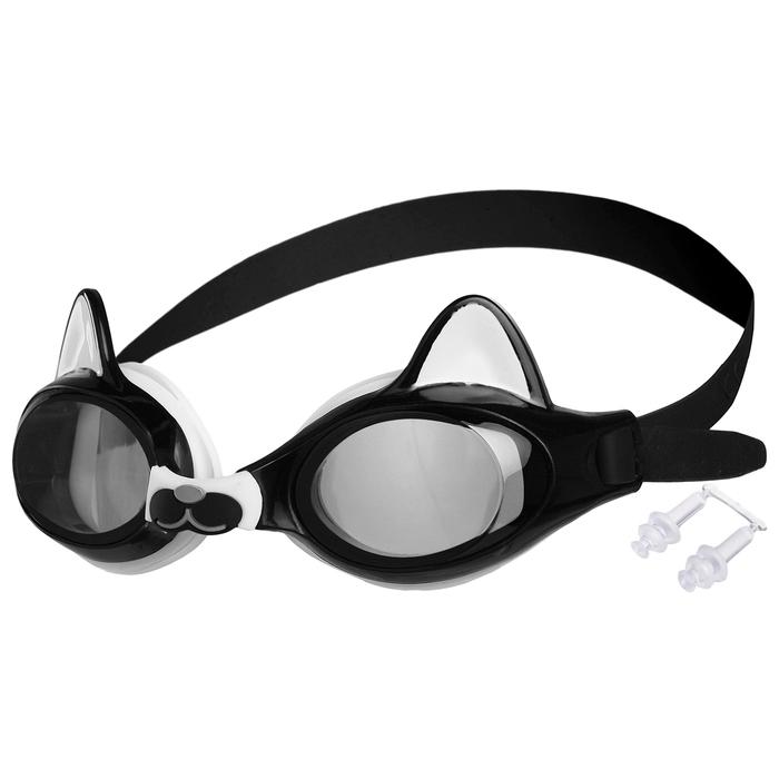 Очки для плавания, детские Котенок, цвет черный