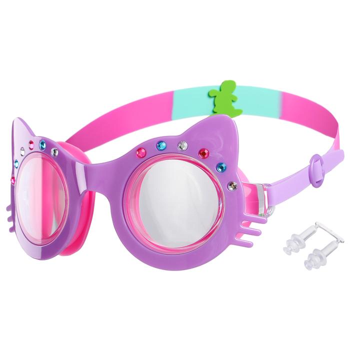 Очки для плавания, детские Кошечка, со стразами, цвет фиолетовый