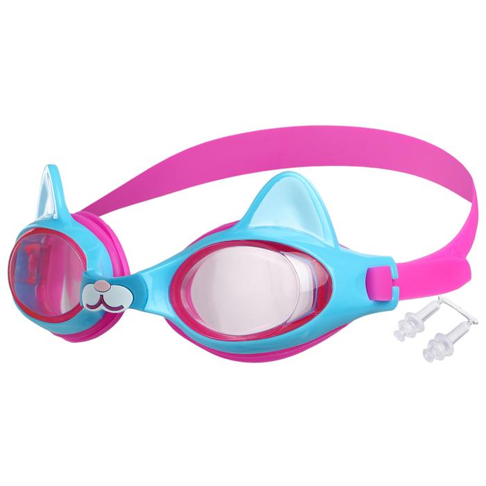 Очки для плавания, детские Котенок, цвет розово-голубой