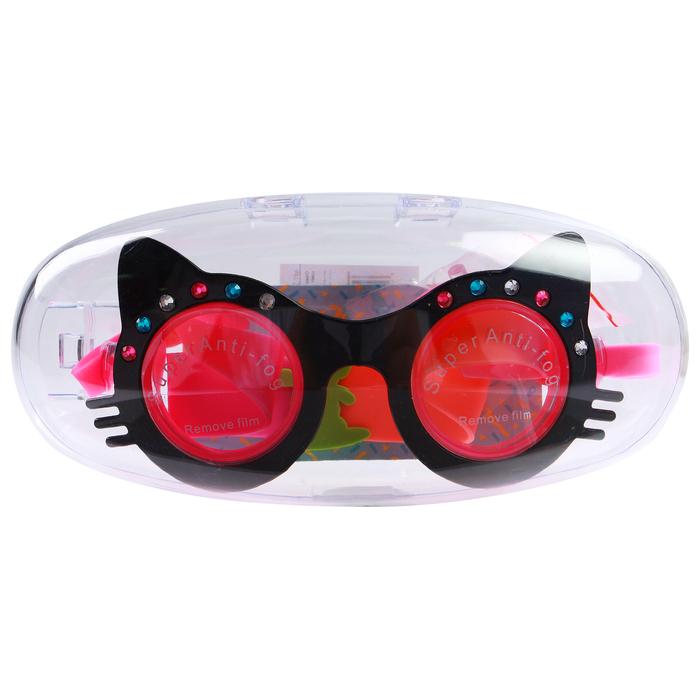 Очки для плавания, детские Кошечка, со стразами, цвет черный