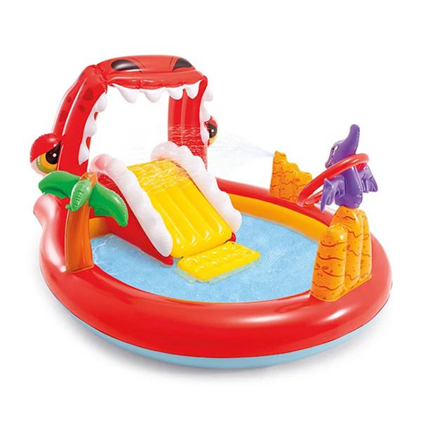 Детский надувной игровой бассейн Intex Happy Dino 196х170 см, 57163NP Красный