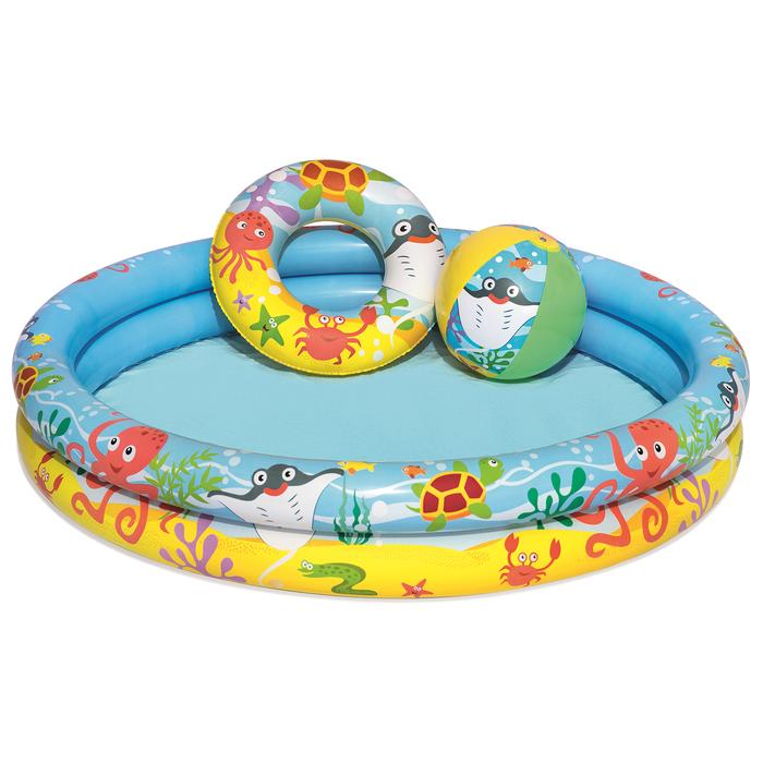 Набор пляжный «Рыбки», 3 предмета: бассейн, мяч, круг, 122 х 20 см, от 2 лет
