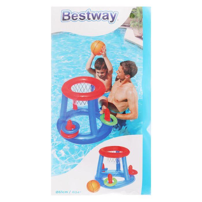 Набор для игр на воде «Баскетбол», d=61 см, корзина, мяч, 3 кольца, от 3 лет