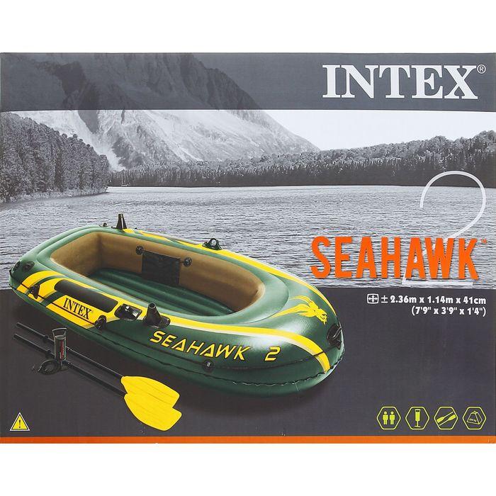 Лодка Seahawk 2, 2х-местная, 236х114х41 см, вёсла, насос, до 200 кг 68347NP INTEX