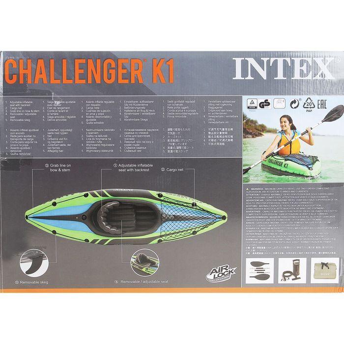 Лодка CHALLENGER К1, 1 местн., (алюмин. вёсла 213 см, насос ручн.), до 100 кг 68305NP INTEX