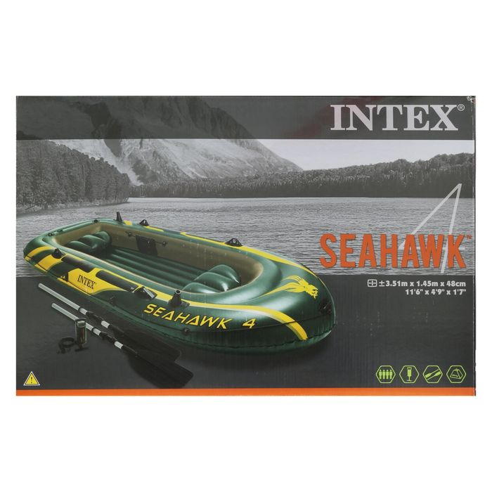 Лодка Seahawk 4, 4х-местн., 351х145х48 см, вёсла, насос, до 480 кг 68351NP INTEX