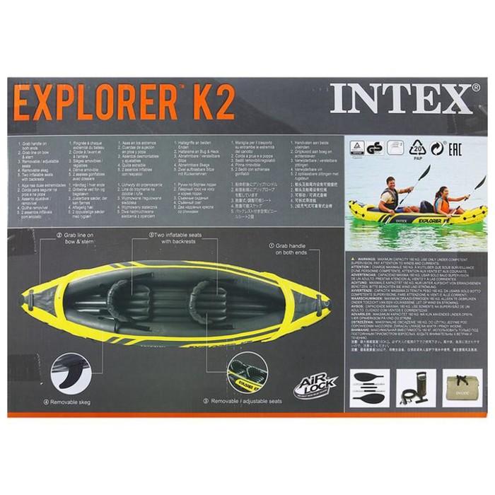 Лодка EXPLORER K2, 2х-местн., алюмини. вёсла 213 см, насос ручной, до 160 кг 68307NP INTEX