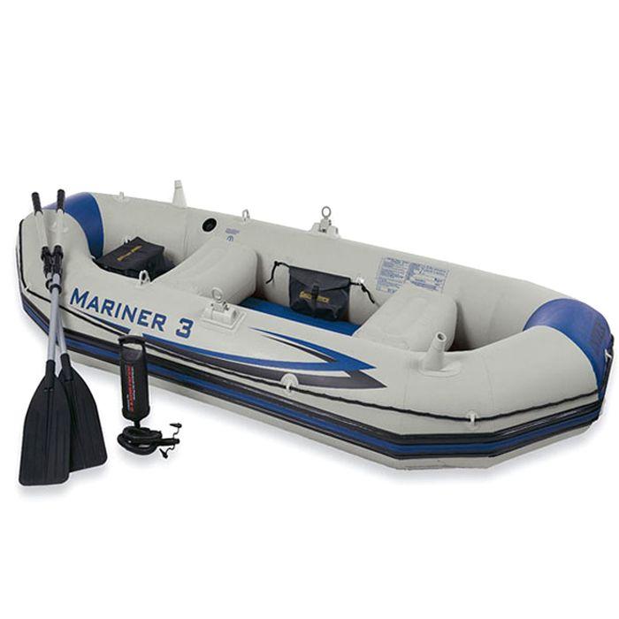Лодка надувная «Мореход 3», 127х297х46 см, вёсла алюмин., ручной насос, до 300 кг 68373 INTEX