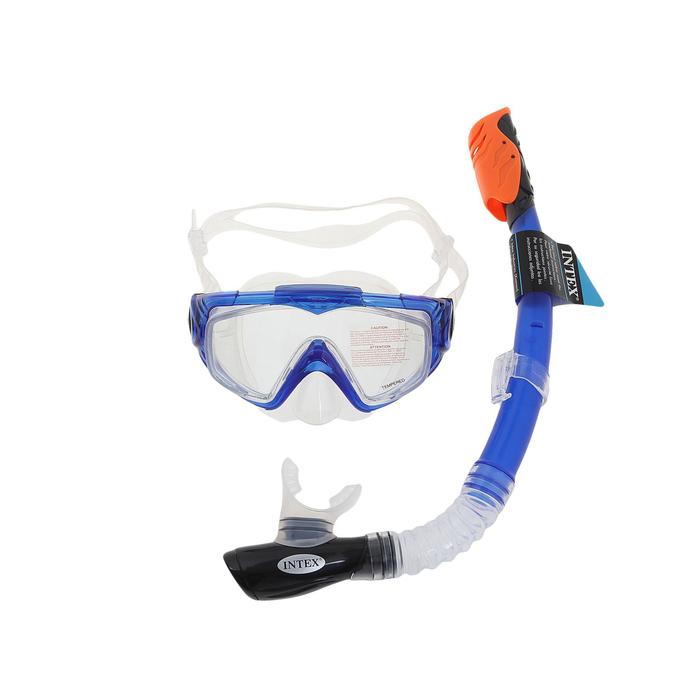 Набор для подводного плавания AQUA SPORT, 2 предмета: маска, трубка с защитой от брызг, от 14 лет INTEX