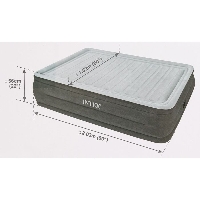 Кровать надувная Comfort-Plush Queen 152х203х56 см, со встроенным насосом 220V 64418 INTEX