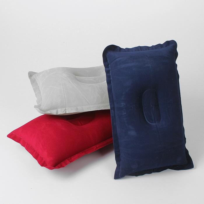 Подушка дорожная, надувная, 46 х 29см, цвет МИКС