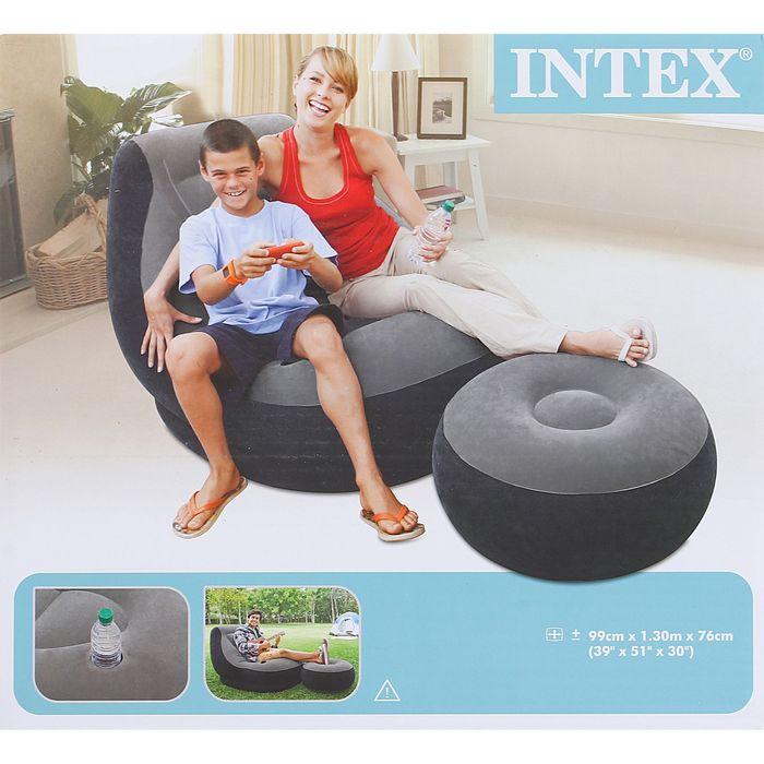 Кресло надувное с пуфиком, флок 99х130х76/64х28 см, от 6 лет 68564NP INTEX