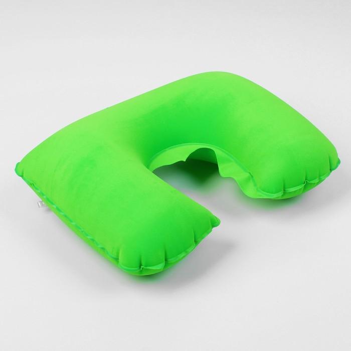 Подушка для шеи дорожная, надувная, 38 х 24см, цвет зелёный