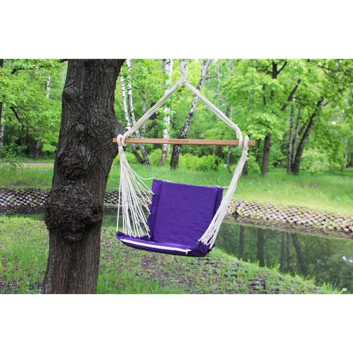 Кресло гамак из льна с поролоновыми вставками RGK-4 (Фиолетовый)