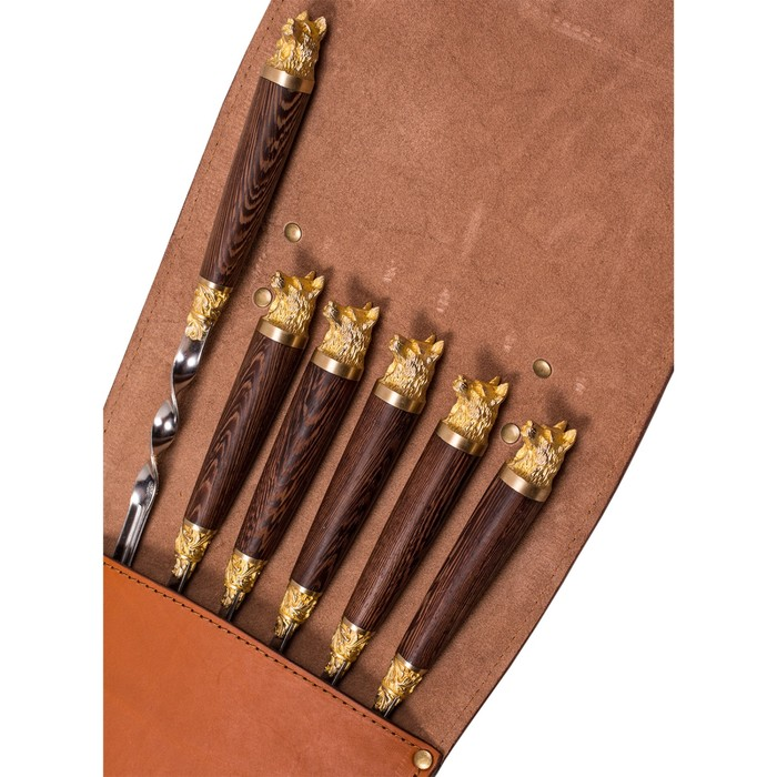 Шампуры подарочные 6 шт. «Собака» в колчане из натуральной кожи