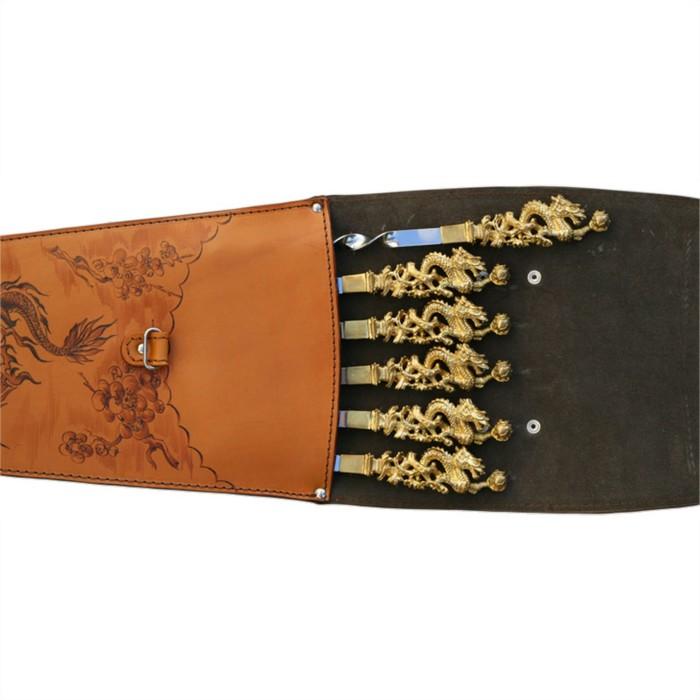 Шампуры подарочные (драконы) 6 шт. в колчане из натуральной кожи