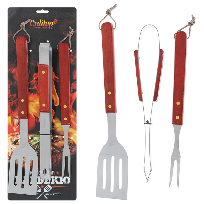 Набор для барбекю: лопатка, щипцы, вилка, 40 см