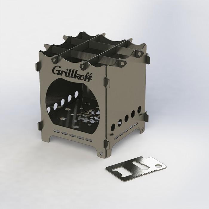 """Печка щепочница """"Ладога"""", нержавеющая сталь 1 мм, в сумке, с мультитулом"""