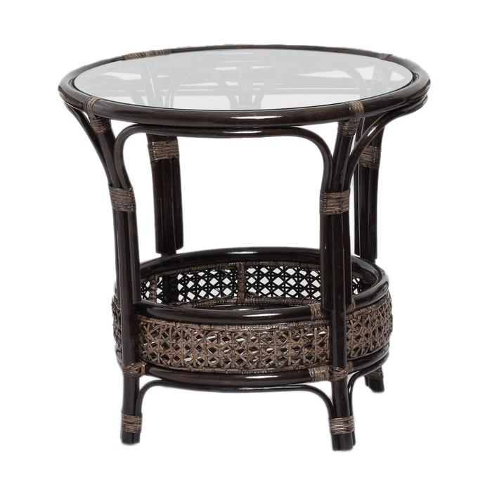 Стол со стеклом, 64 × 64 × 61 см, натуральный ротанг, цвет тёмно-коньячный, 02/15A
