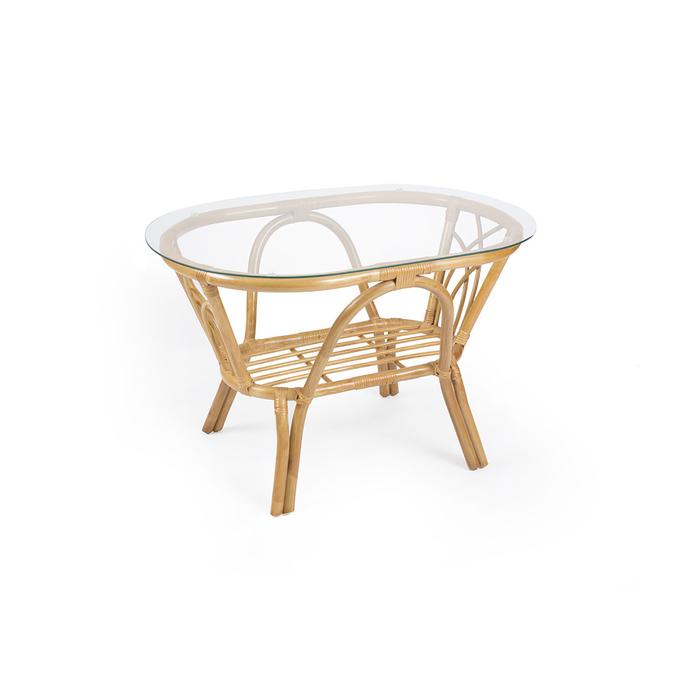 Стол журнальный ROMA МИ со стеклом, цвет мёд
