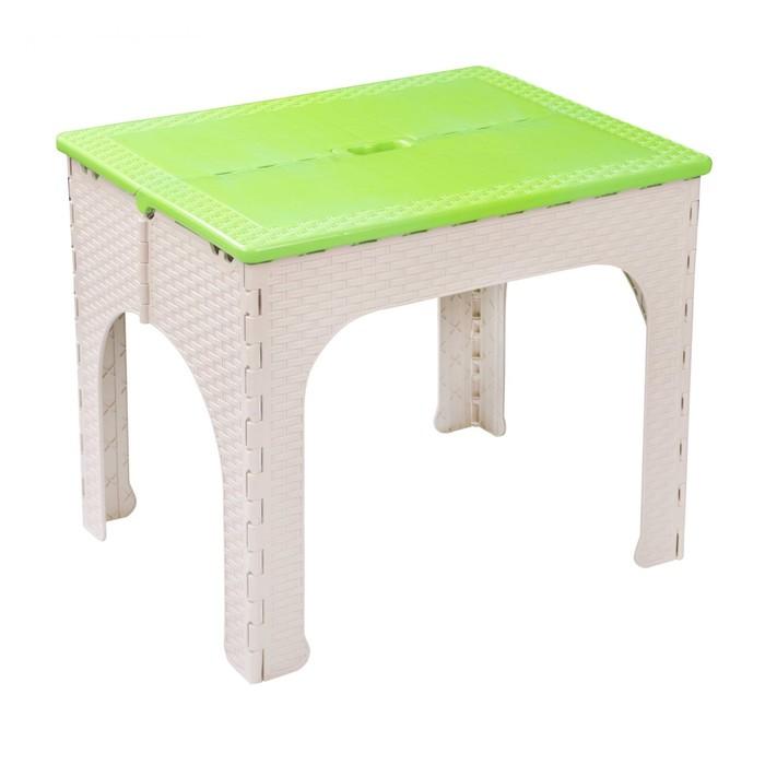 Складной стол «Плетёнка», 64,5 × 50,5 × 60 см, пластик, бежево-зелёный