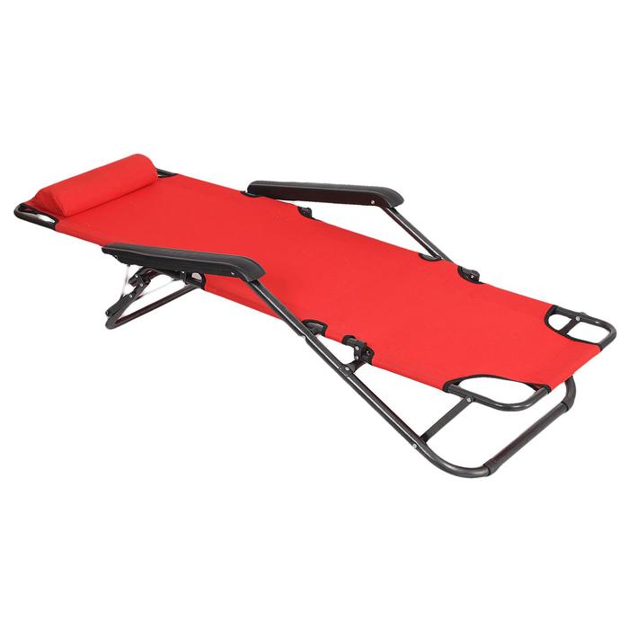 Кресло-шезлонг туристическое, с подголовником 153х60х30 см, до 100 кг, цвет красный