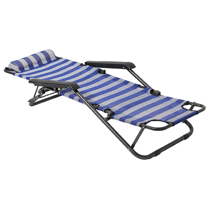 Кресло-шезлонг туристическое с подголовником 153х60х79 см, цвет белоый/голубой