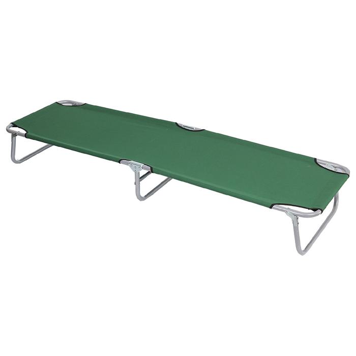 Раскладушка туристическая 192х55х28 см, цвет: зеленый, до 100 кг