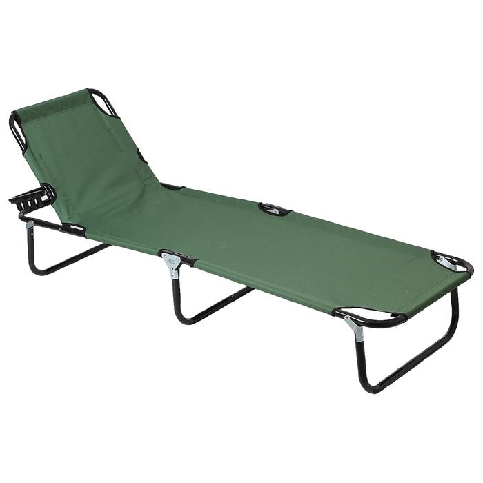 Раскладушка турист., с регулир. спинкой 192х55х28 см, цвет: зеленый, до 100 кг