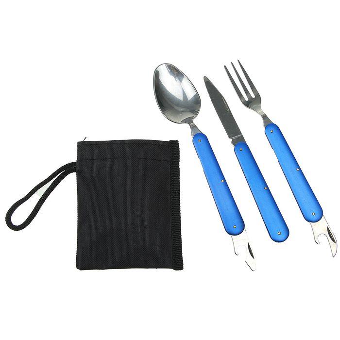 Набор туриста в чехле 4в1: нож, вилка, ложка, открывалка, цвет синий