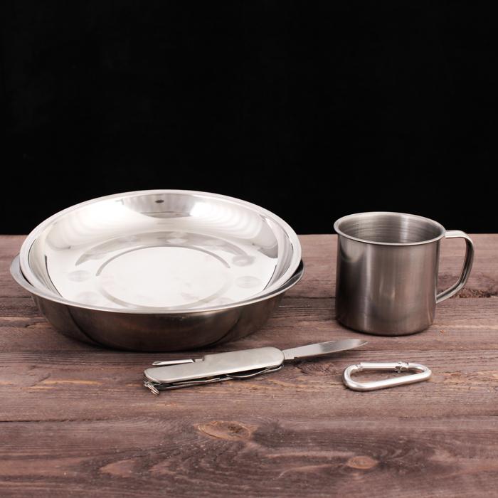 "Набор посуды ""Туристический"", тарелка 2 шт, кружка, мультитул, карабин"