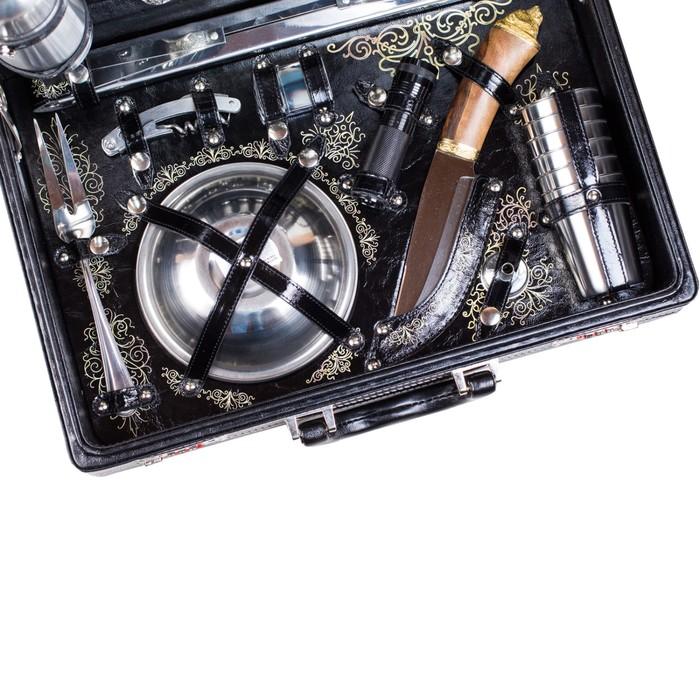 Набор подарочный «Премьер» (6 персон, в черном оформлении, УФ-печать)