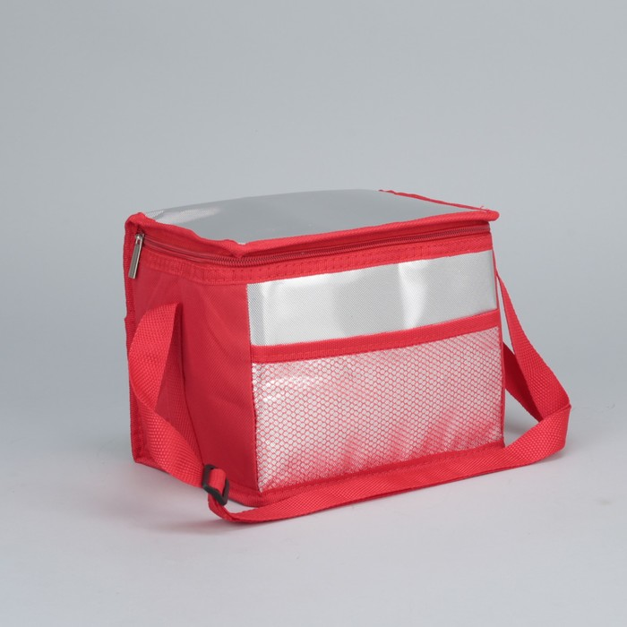 Сумка-термо дорожная, отдел на молнии, наружный карман, регулируемый ремень, цвет красный