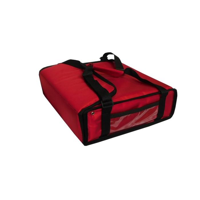 Термосумка на 2 пиццы 420 х 420 х 100 мм, фольгированная, с вентиляцией, цвет красный
