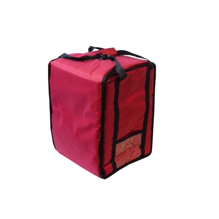Термосумка на 5-6 пицц 420 х 420 х 300 мм, фольгированная, с вентиляцией, цвет красный
