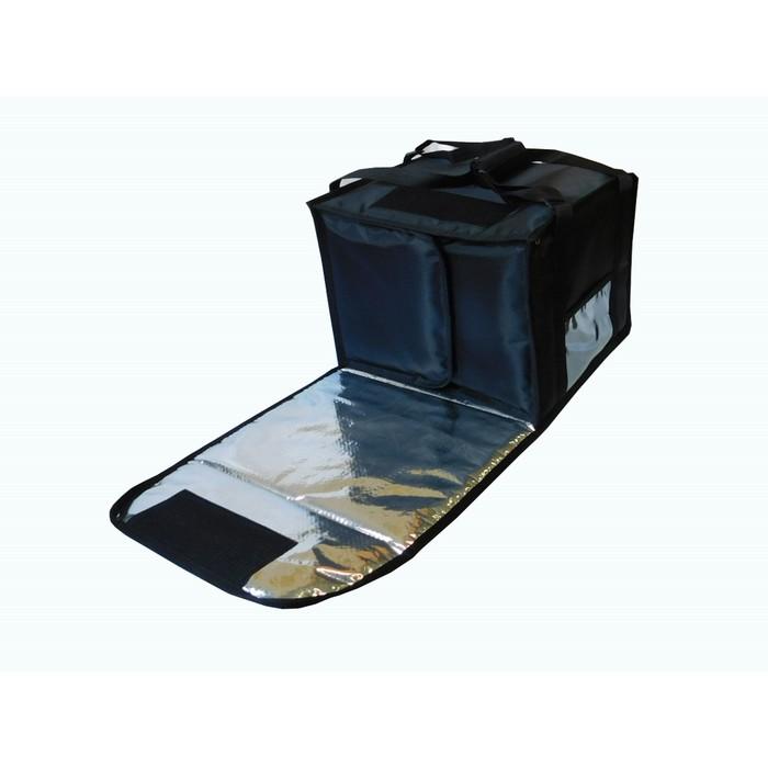 Термосумка на 5-6 пицц 420 х 420 х 300 мм, фольгированная, с вентиляцией, цвет чёрный